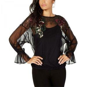 NWT Thalia Sodi Embellished Mesh Top Large Black